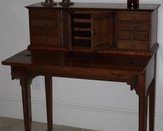 """Vintage Spinet Desk with Drawers and Pockets on Pad Feet(34""""W x 40""""H x 18'D), Vintage/Antique  Solid Brass 12"""" Bee Hive Candlesticks and Amber 1920's Lysol Bottle"""