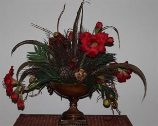 """Large Silk Amaryllis, Fruit and Feathers  Floral Arrangement (approx. 36"""" x 36"""") in Round Pedestal Bowl(12""""H x 12""""D)"""