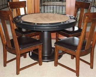 """2nd View showing Poker Side:  Glen Ellen Professional 48"""" Pedestal Game Table by California House w/Reversible top.   Shown with 4 Solid Wood  Side Chair with Upholstered Expresso Leather Seats"""