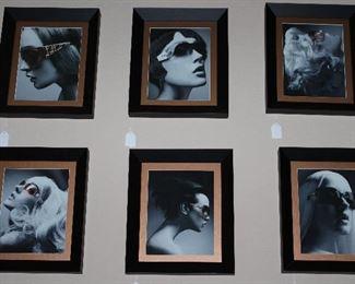 Sunglasses Advertisement (8x10) Portraits (6 ea) Black Frame w/Gold Mat