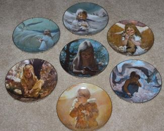 """Vilette China Co. """"Precious Moments Collection"""" by Artist, Thomas Utz: """"A Friend in the Sky"""" 1979, """"Snow Bunny"""" 1980, """"My Kitty"""" 1980, """"Sand in Her Shoe"""" 1979, """"Dawn"""" 1980, """"Seashells"""" 1980.  Carefree Days Collection """"Autumn Wanderer"""""""