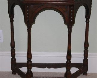 """Antique Demilune/Half Hexagonal Table w/Turned Legs and Stretchers (30""""W x 30""""H x 15""""D)."""