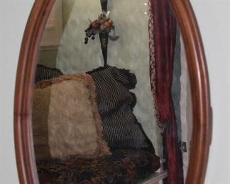 """Antique Carved Wood Framed Bevel Mirror w/Carved Floral Crown (21"""" x 40"""")"""