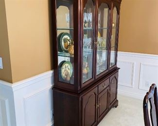 "$300 ETHAN ALLEN LIGHTED CHINA CABINET 55.5""L x 16""D x 78""H"