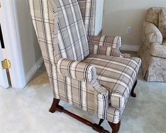 "$150 BEIGE WITH BLACK STRIPE WINGBACK CHAIR 32""L x 28""D x 43""H"