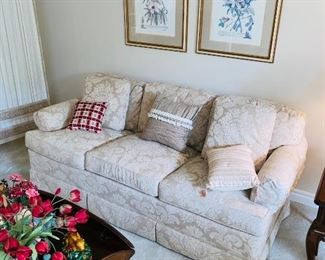 "$250 FLORAL BEIGE  3 CUSHION SOFA BY SOVEREIGN COLLECTION  74""L x 36""D x 30""H"