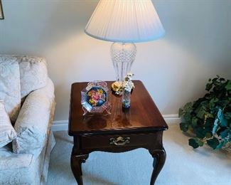 "$75 WOODEN SIDE TABLE WITH DRAWER 22""L x 26""D x 23.75""H"