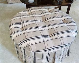 "$100 BEIGE WITH BLACK STRIPE OTTOMAN  32"" DIA x 17.5""H"