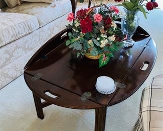 "$95 ETHAN ALLEN WOODEN DROP LEAF COFFEE TABLE 42""L x 30""W x 17""H"