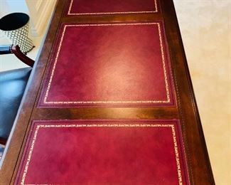 "$500 WOODEN LEATHER TOP  EXECUTIVE DESK BY HEKMAN  (GRAND RAPIDS, MI)  56.5""L x 29.5""W x 30""H"