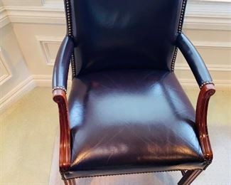 $100 LEATHER STUDDED OFFICE CHAIR ON WHEELS