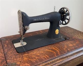 "$180 ANTIQUE SINGER SEWING MACHINE  37""L x 18""D x 30""H"