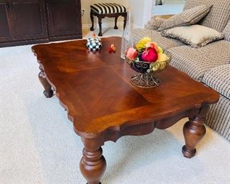 "$180 LARGE WOODEN COFFEE TABLE 58""L x 38""W x 22""H"