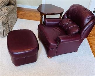 "$350 BURGUNDY BARCALOUNGER CHAIR AND OTTOMAN  CHAIR MEASURES  36""L x 36""D x 36""H OTTOMAN MEASURES  28""L x 21.5""W x 15.5""H"