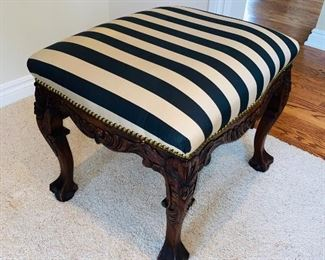 "$100 WOODEN CLAW FEET STRIPED BENCH 24""L x 20""D x 21""H"