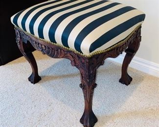 "$100 WOODEN CLAW FEET STRIPED BENCH 24""L x 20""D x 21""H
