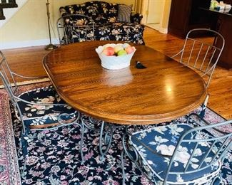 "$450 COUNTRY STYLE WOOD AND METAL OVAL KITCHEN TABLE WITH 4 CHAIRS BY KINCAID FURNITURE  62""L x 44.25""W x 29""H  ( MEASURES WITH LEAF)"