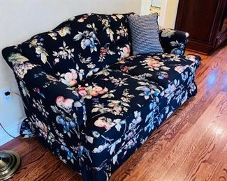"$95 CUSTOM BLACK WITH  MULTI-COLOR FRUIT  LOVE-SEAT  58""L x 33""D x 32""H"