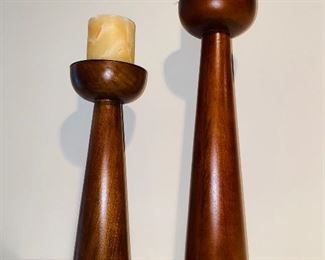 $25 PAIR WOODEN CANDLE HOLDERS
