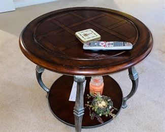 "$95 ROUND WOOD AND METAL SIDE TABLE 28""DIA x 24""H"
