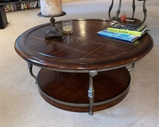 "$125 ROUND WOOD AND METAL COFFEE TABLE 40""DIA x 17""H"