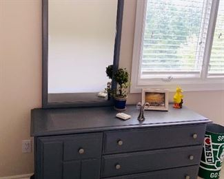 "$125 STANLEY FURNITURE LONG GRAY PAINTED DRESSER WITH MIRROR 54""L x 19""D x 73.5""H"