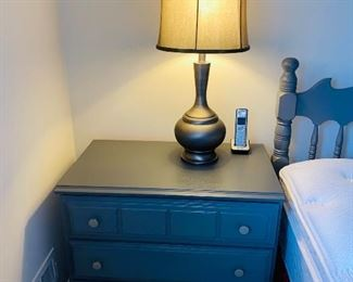 "$50 GRAY PAINTED NIGHTSTAND 30""L x 19""D x 49""H"