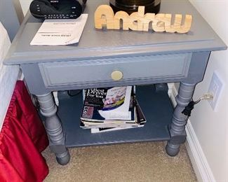 "$45 GRAY PAINTED SIDE TABLE WITH DRAWER 22""L x 14""D x 22""H"