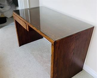 "$60 WOODEN DESK WITH GLASS PROTECTOR  48""L x 24""D x 30""H"