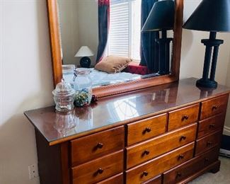 "$200 STANLEY FURNITURE LONG DRESSER WITH MIRROR AND GLASS PROTECTOR  66""L x 18""D x 68.5""H"