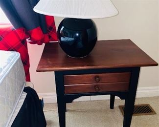 "$40 SMALL WOODEN SIDE TABLE WITH DRAWER 24.5""L x 16.5""D x 25""H"