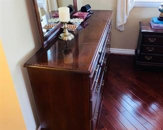 "$120 WOODEN DRESSER WITH MIRROR  60""L x 18""D x 75""H"