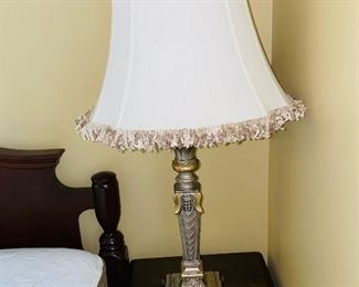 "$30 SILVER AND GOLD LAMP  30"" HEIGHT"