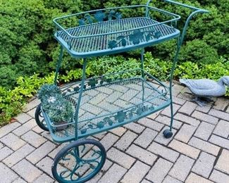 $75 GREEN WROUGHT IRON CART