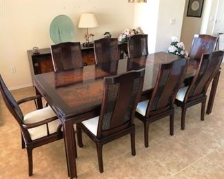 Bernhardt Dining set in Asian design, 8 chairs, custom pads, buffet and bar - GORGEOUS!