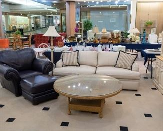Leather chair and ottoman, BERNHARDT leather couch, and wicker coffee table with glass!