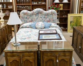 Thomasville nightstands, dresser, mirror.  Be sure to take a look at the needlepoint pictures on the bed - absolutely beautiful!