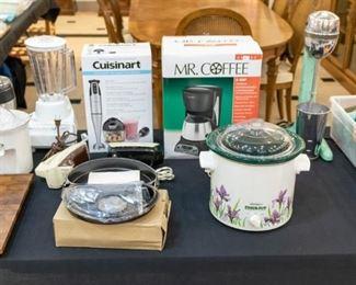 Small kitchen appliances - and vintage milkshake maker (works - has new cord/plug)!