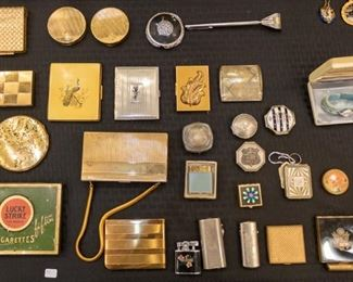 Vintage powder compacts, match holders, lighters, etc.