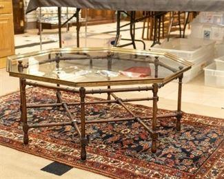 Glass top coffee table and rug