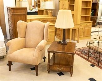 Wing back chair and HENREDON end table