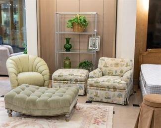 ROB & STUCKY chair & ottoman, swival chair, & green velour ottoman.