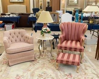 Pink chair on the left is RUST & MARTIN.  Adorable pink chair & ottoman on the right.