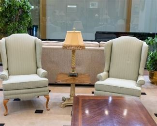 HENREDON table in the middle of wing back chairs - we have two!