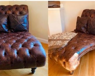 """Single Tufted Chaise Lounge $895.00 Dimensions: •Width: 46"""" •Depth: 74"""" •Height: 47"""" Seat:24h 52d arm h. 2 #24 Throw Pillows"""