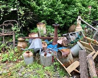 More yard finds!  Vintage gas cans, metal pieces and more!