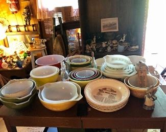 Just a few of the vintage nesting bowls, old table, lots of smalls!