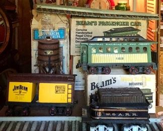 Jim Beam  train decanters, Water Tower, Passenger Car, Box Car, and Wood Tender Car plus tracks