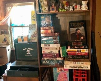 McCaskey Register, games and puzzles, Trump Game, easy bake oven on bottom shelf