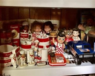 Campell's  soup mugs and bowls, Campbell's kids dolls, Shoney's  Big Boy and Bear, Pillsbury car and Pillsbury cookie jar